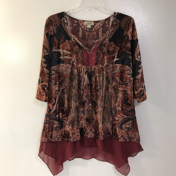 ONE WORLD Tops - One World Crushed Velvet Style Top